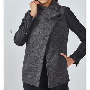 Fabletics faux leather sleeves wrap coat
